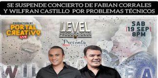 Suspenden concierto de Wilfran Castillo y Fabian Corrales